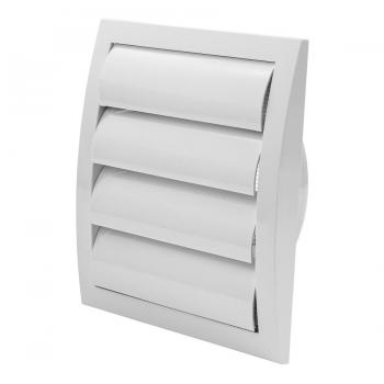 trobak jalousieklappe wrasenklappe weiss 190 x 190 mm mit stutzen dn 150 insektenschutz. Black Bedroom Furniture Sets. Home Design Ideas