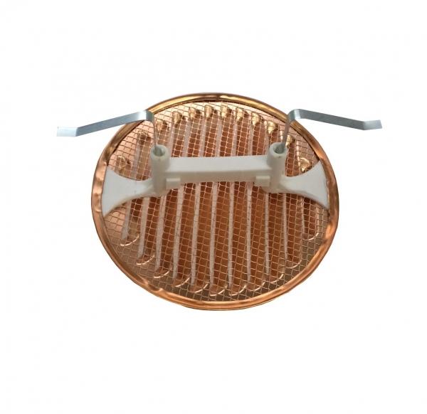 Lüftungsgitter rund Kupfer DN 145 mit Klemmfeder fuer Rohre 80-120mm